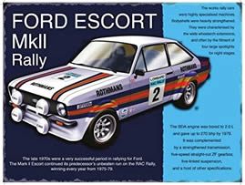 FORD ESCORT MK2 RALLY SPECIAL MINI METAL SIGN APPROX 8X6: Amazon ...